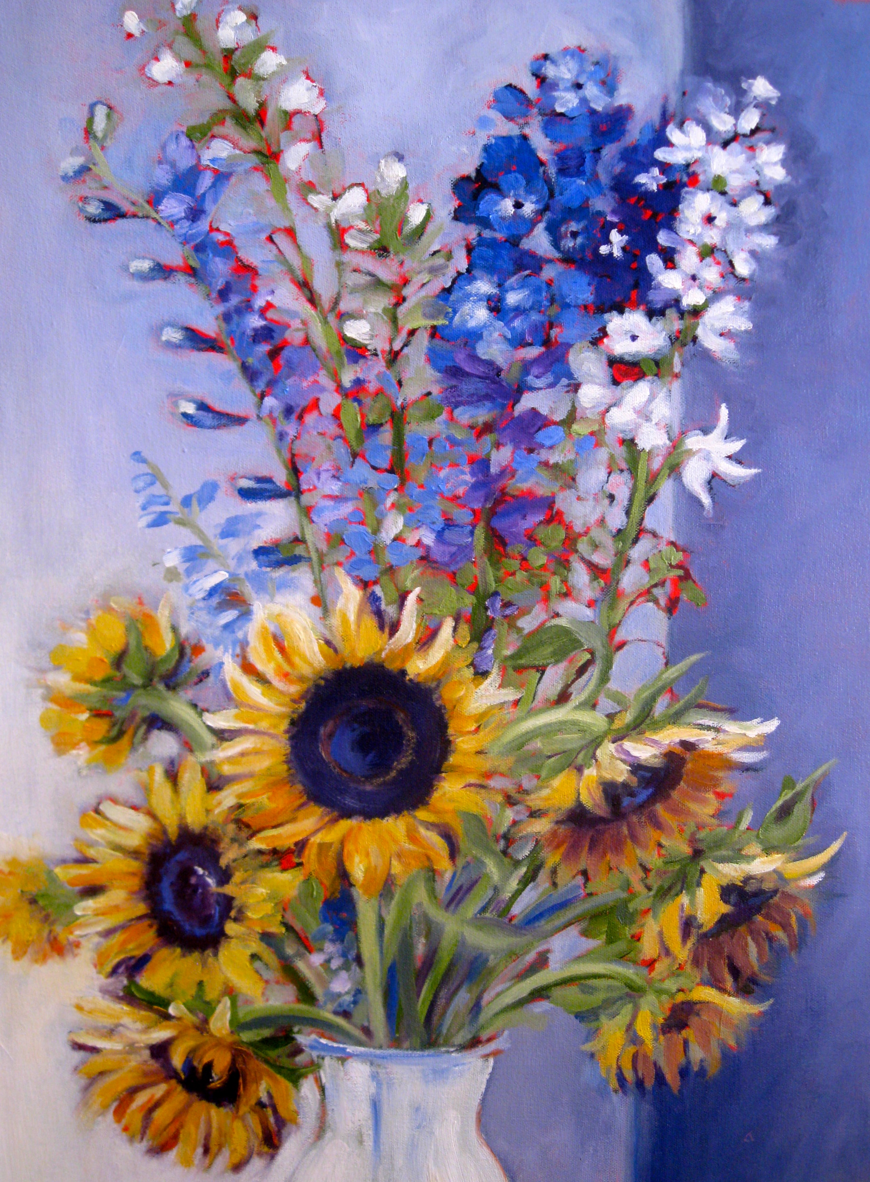 Sunflowers and Delphiniums