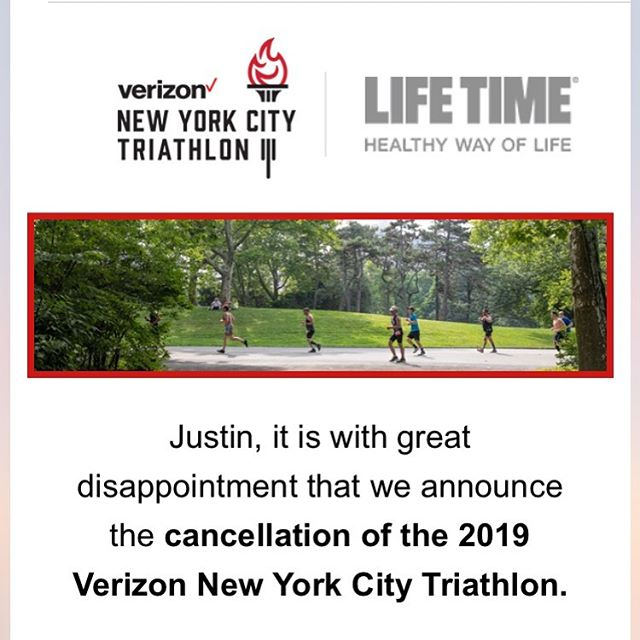 Well this just happened... MAJOR RACE ANNOUNCEMENT! The #NYCTri has been canceled... @nyctriathlon 🏊🏽‍♂️ 🚴🏽‍♂️ 🏃🏾