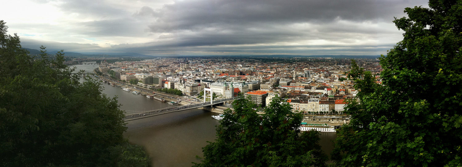 Looking from the Buda to the Pest Side in Budapest, Hungary