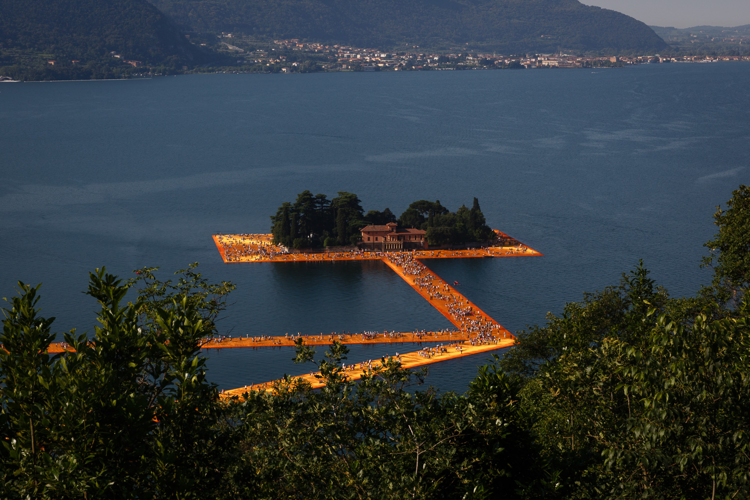 The Floating Piers - Isola di San Paolo from above
