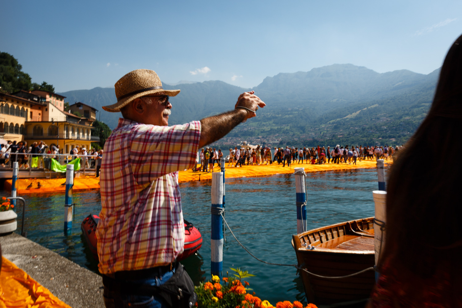 The Floating Piers - Man taking a Picture