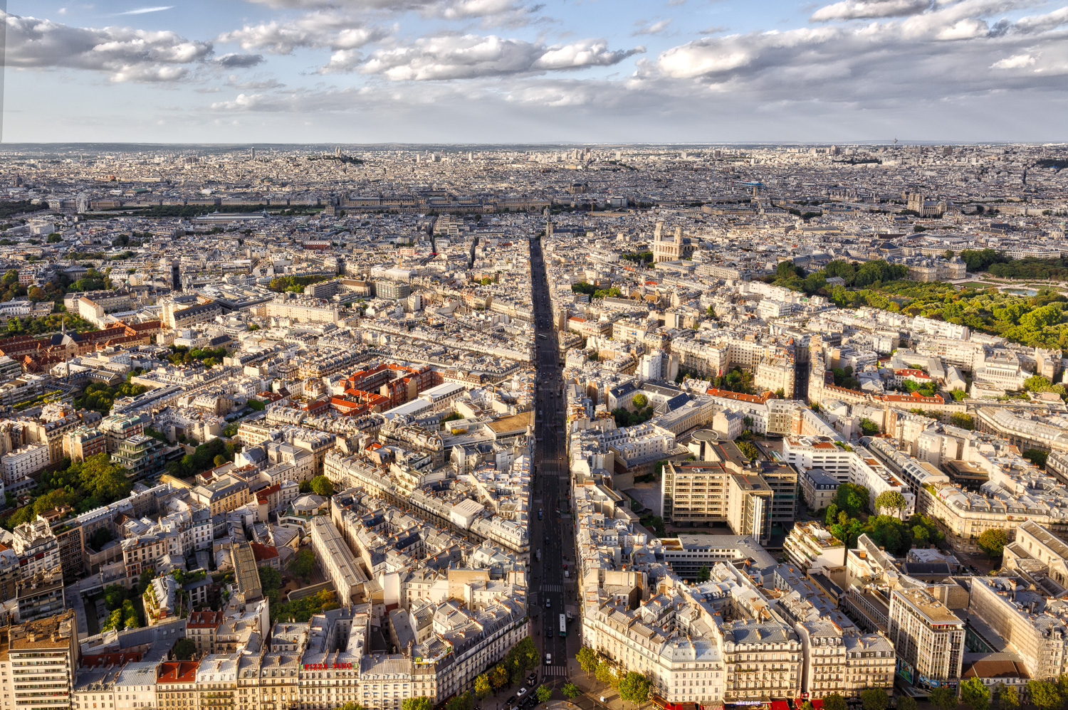 View from the Montparnasse Tower - Rue de Rennes in Paris