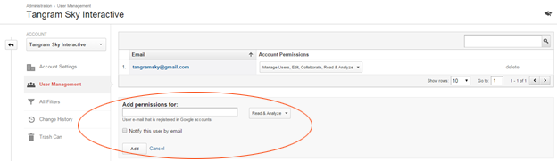 Add a New User, Select Permissions, and click Add.