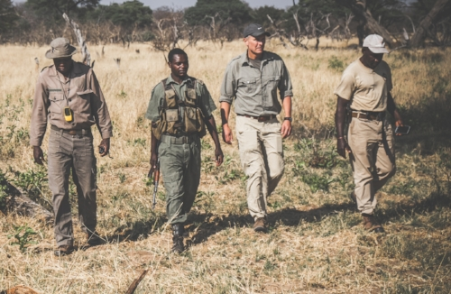 Patrolling Hwange National Park with members of the Scorpions, an anti-poaching unit.