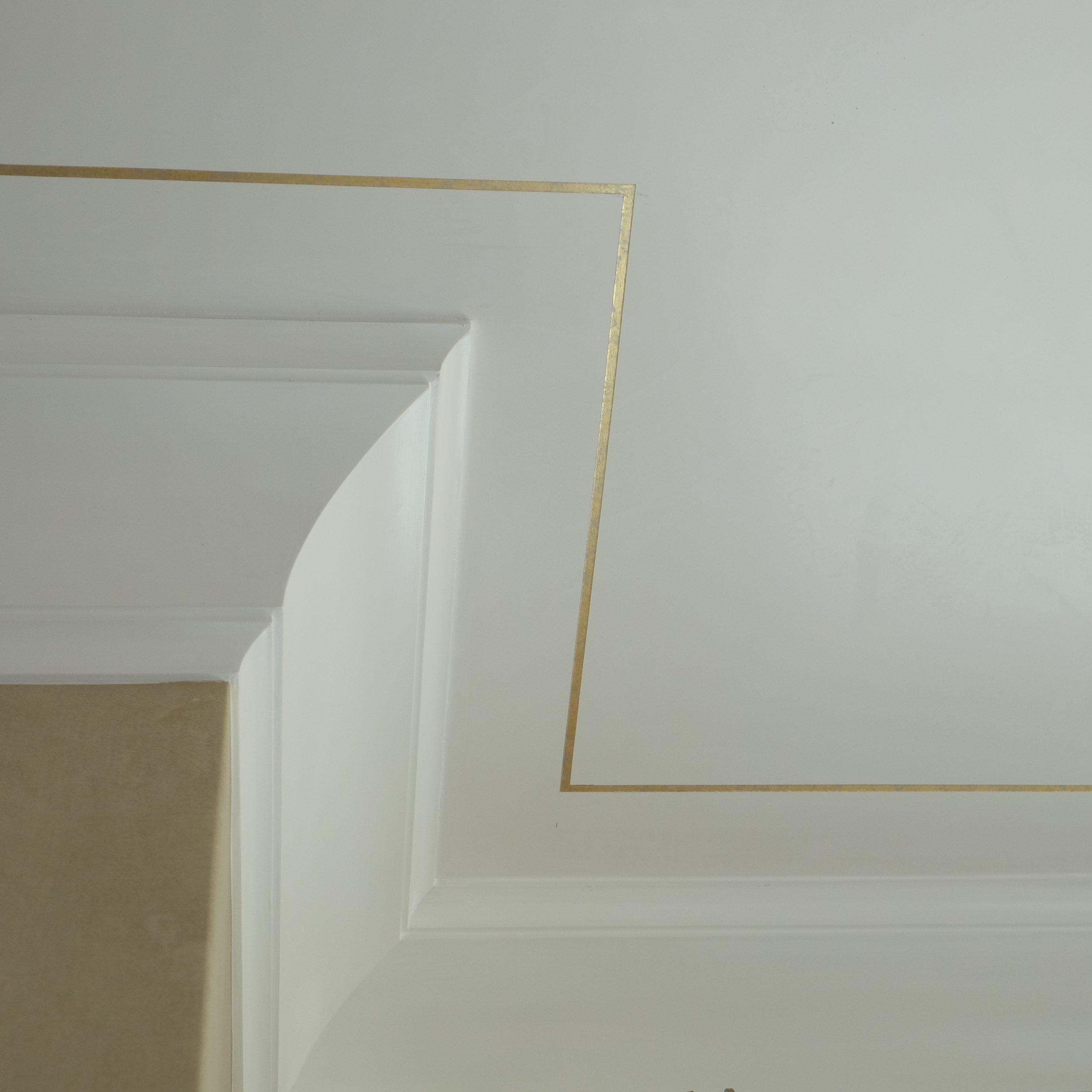Gold Leaf Pinstripe on Venetian Plaster Ceiling