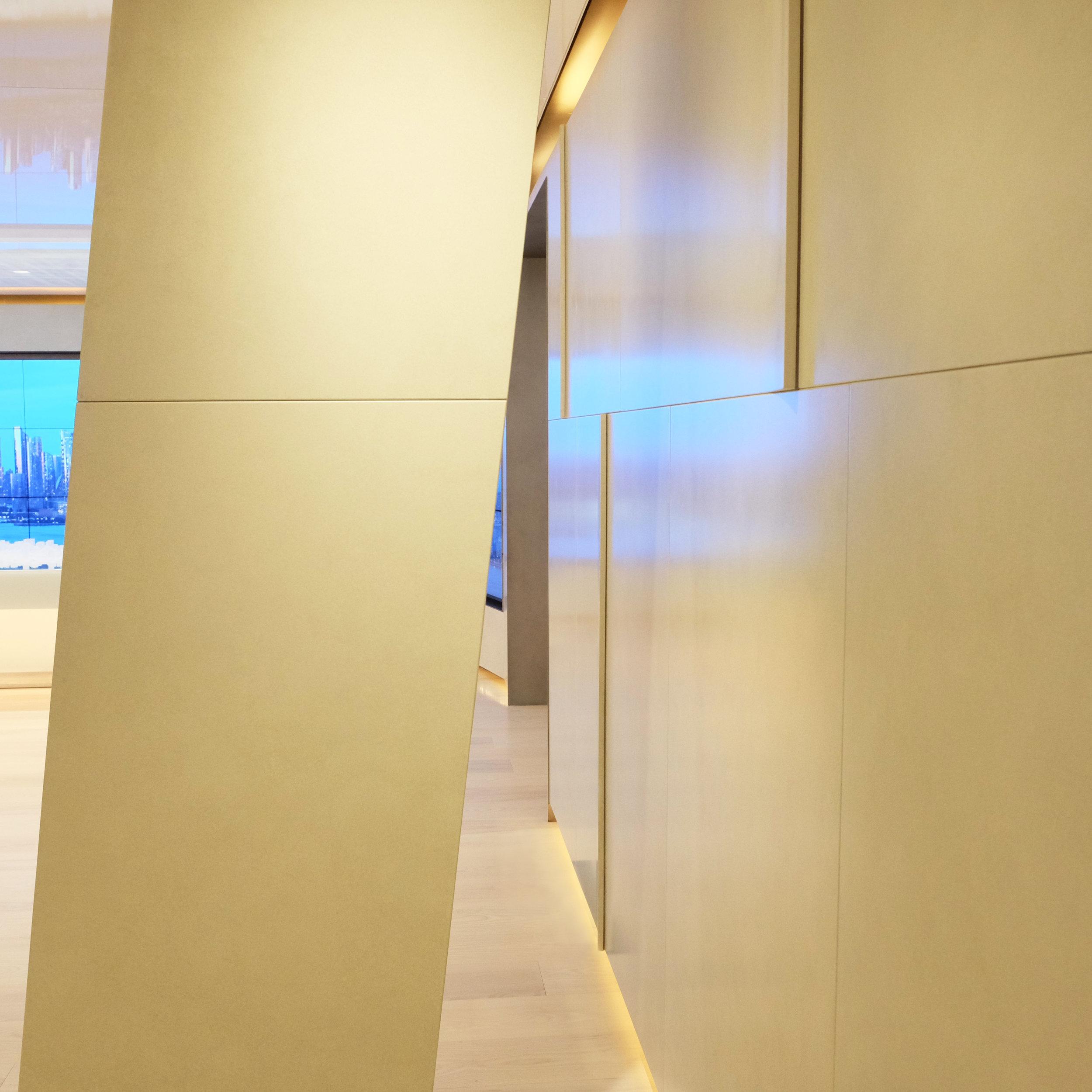 "Faux Parchment Glazed CNC Milled Panels with ""Peeled"" Edges"