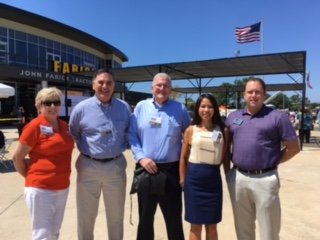 From L to R:  Jeannie Braun (Executive Director of the Fenton, Missouri Chamber of Commerce), Steve Oslica (Hawthorn Executive Director), Jim Curran (Vice President / Electrical Connection and Hawthorn Board Member), Hong Nguyen (Business Banking Officer for US Bank), and  Josh Voyles, Mayor of the City of Fenton, Missouri