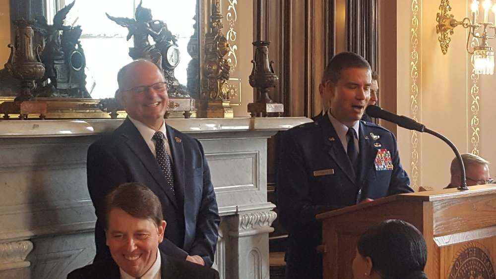 General Paul Tibbets, IV, Commander at Whiteman Air Force Base, gives Mike Dunbar, Chair, MMPEC some grief for his introduction