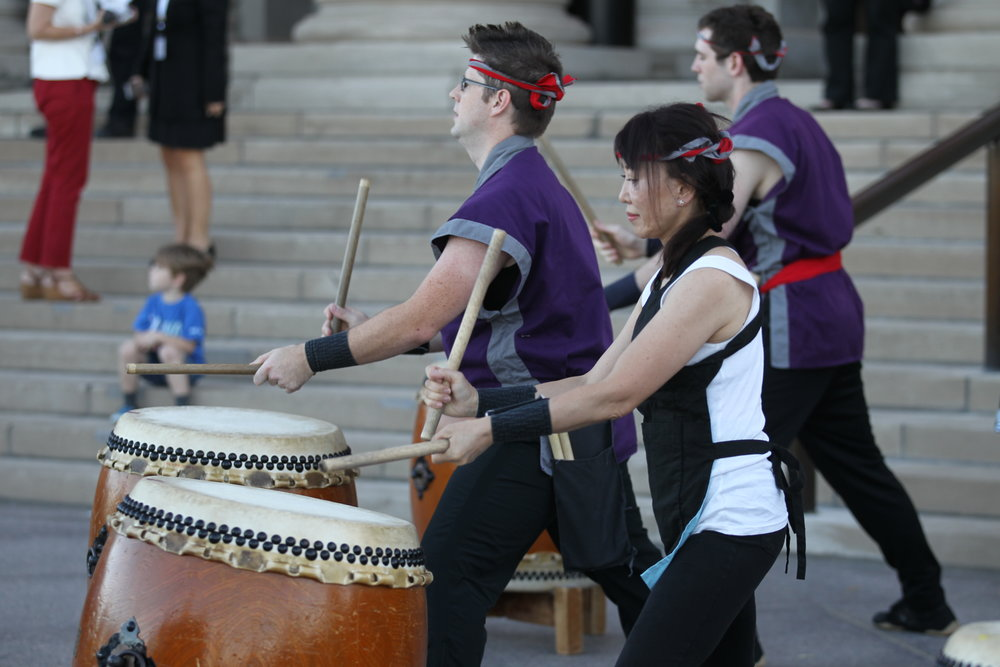 Taiko Drummers Greeting Guests