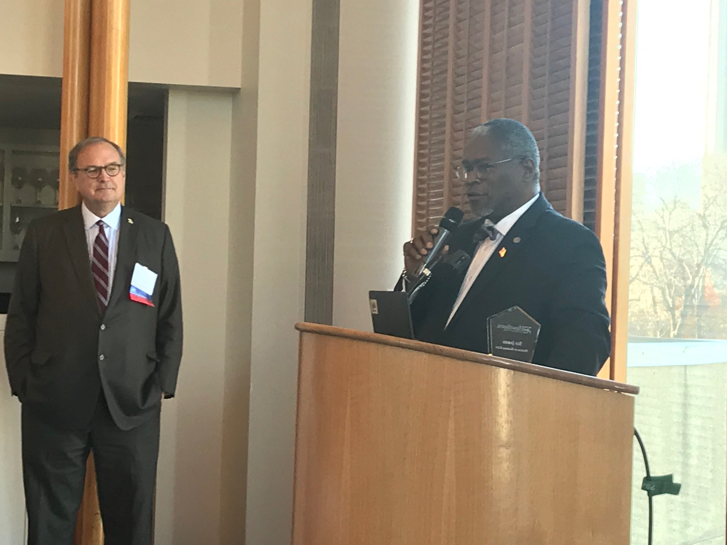 Mayor Sly James speaking at the Nov 2018 board meeting