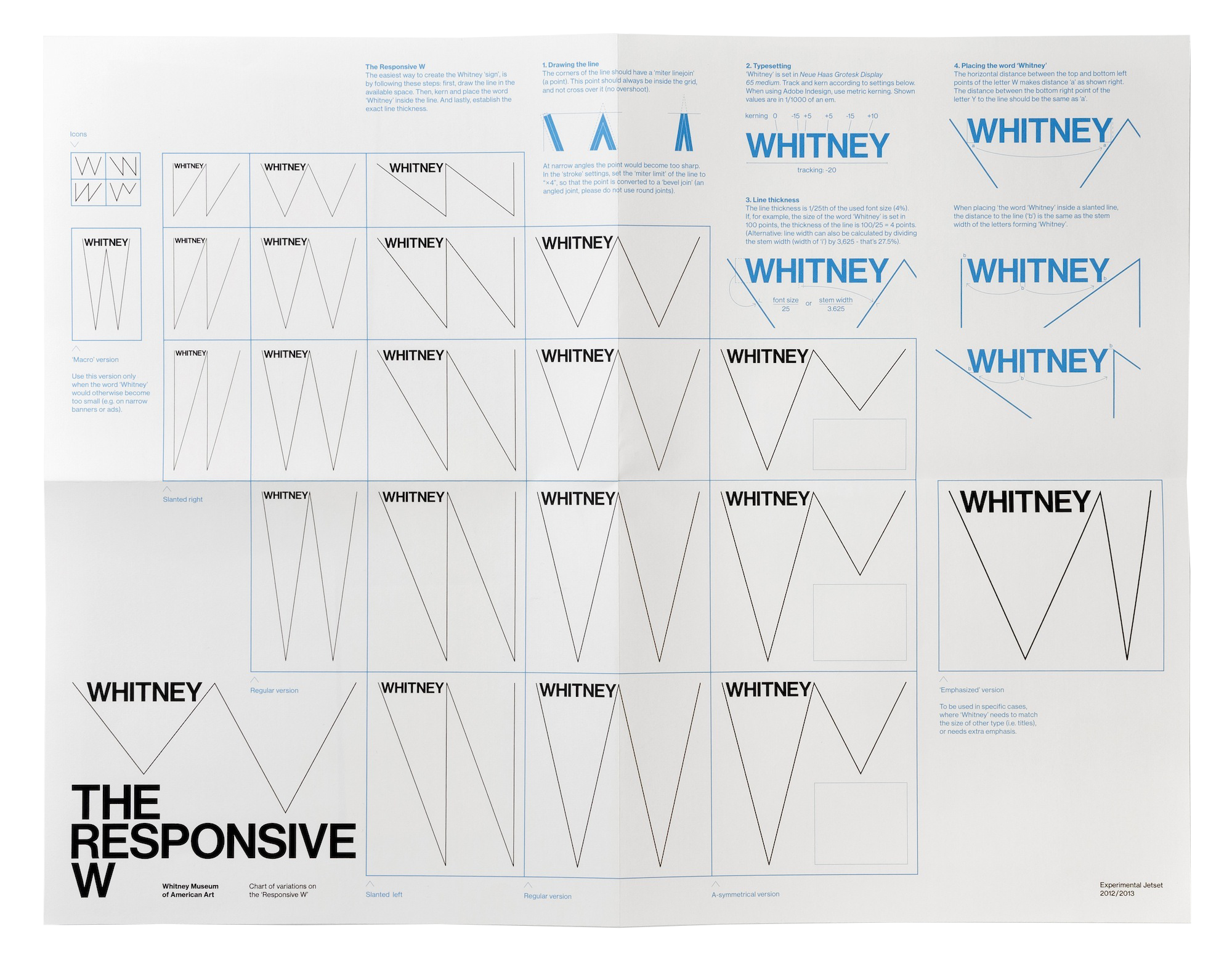 An endlessly adaptable Logomark for the Whitney Museum by Experimental Jetset.