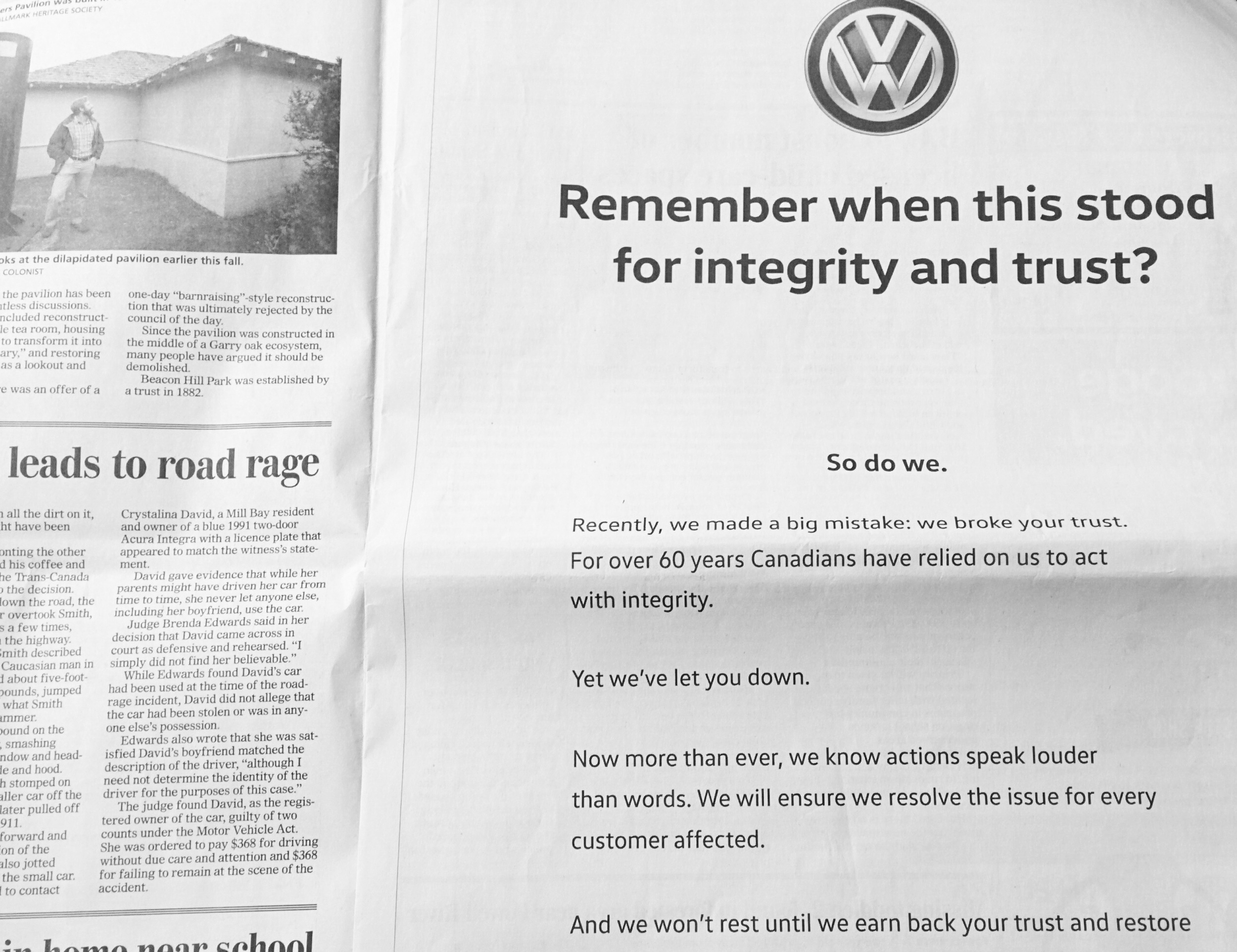 Volkswagen publicly acknowledged that they lied about nitrogen oxide emissions in December 2015.