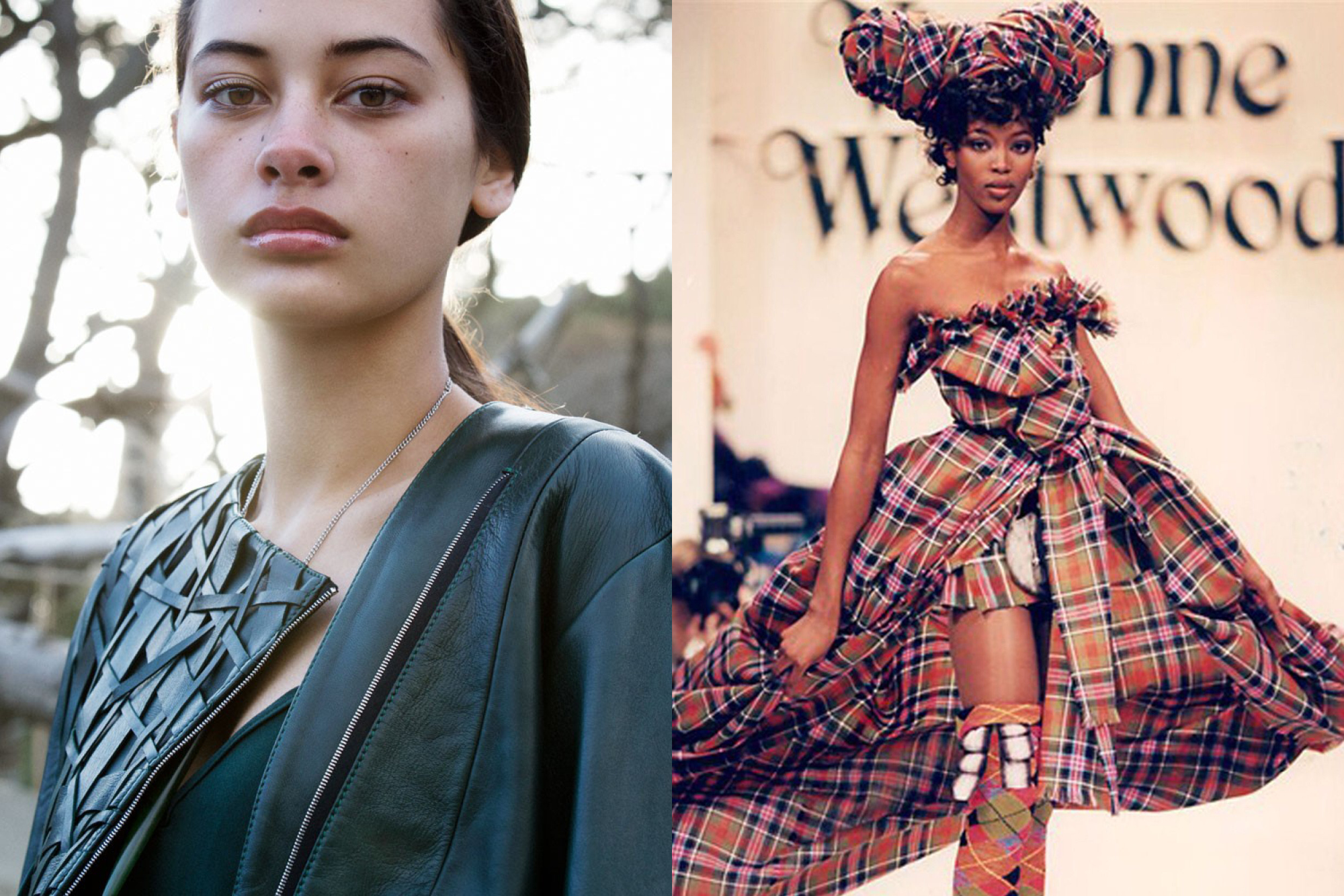 Culturally-inspired fashion. Left: Garments by Kiri Nathan, Right: Garments by Vivienne Westwood
