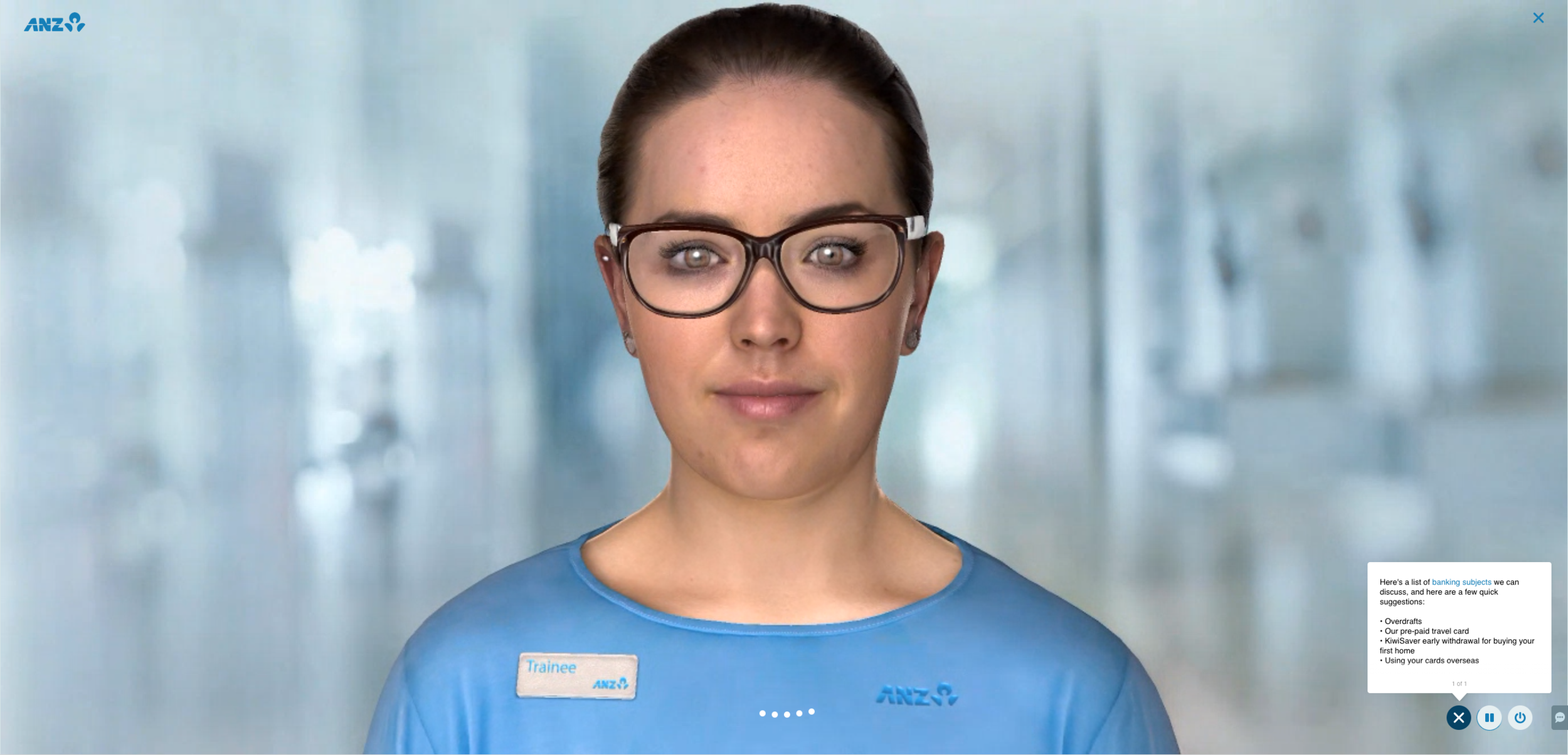 ANZ's Jamie is a live prototype of a digital human that you can test from your browser. Click on the image to give it a try.