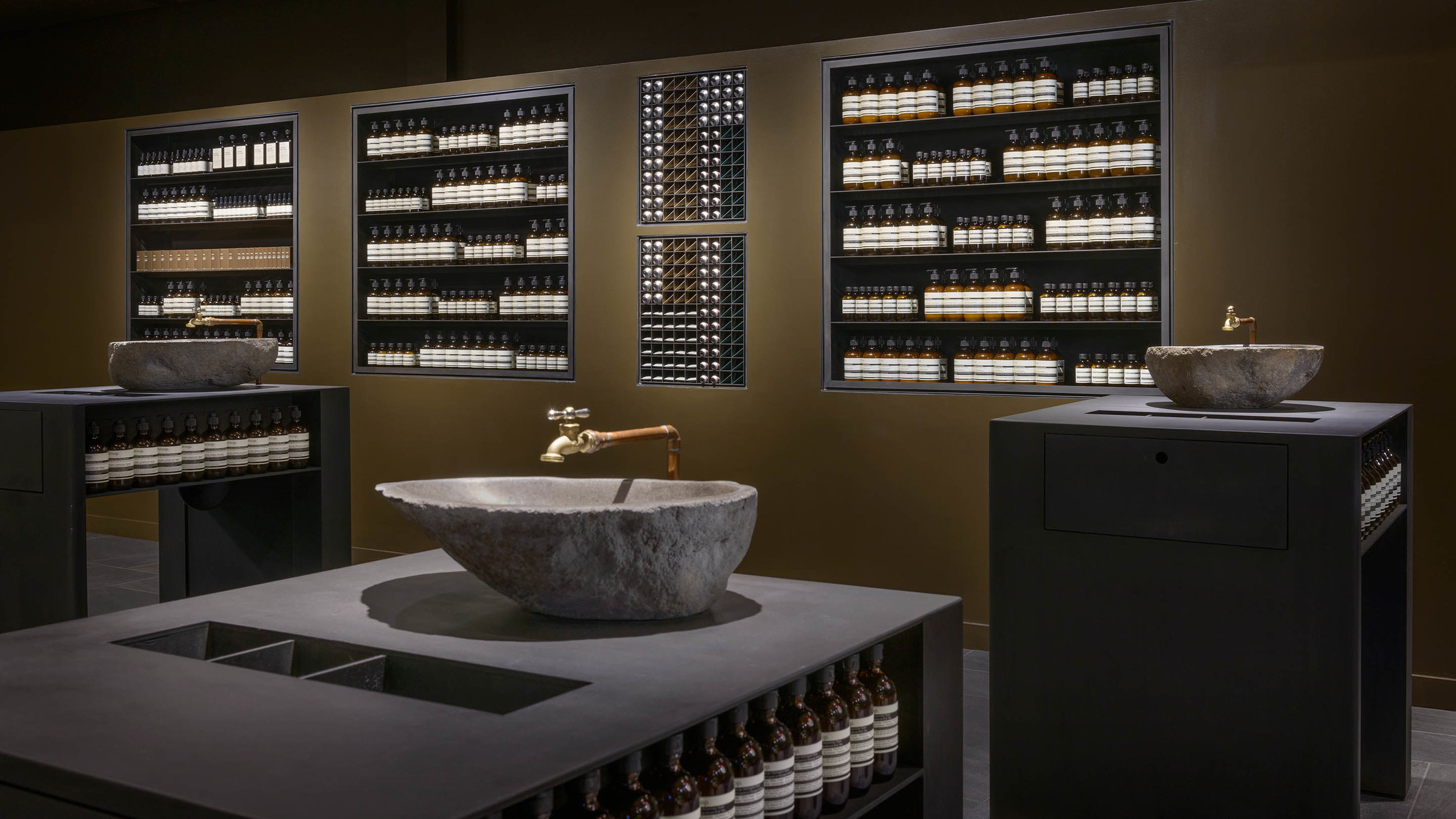 The soul of skincare brand Aesop is expressed in the beautiful designs of their stores. Their stores, much like their products, reflect meticulous attention to detail, with efficacy and sensory pleasure front of mind.