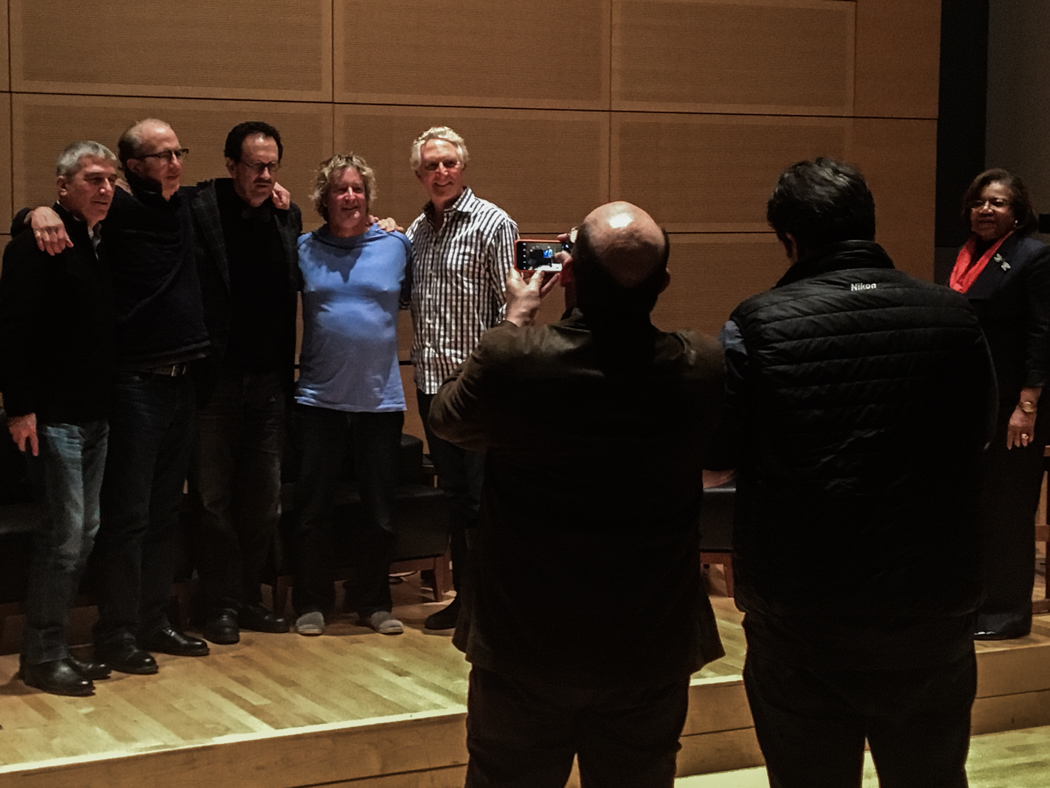(Left to Right), Stephen Wilkes, Eric Meola, Gregory Heisler, Seth Resnick, Clint Clemens, being photographed by Mike Davis and JC Carey, as Dean Branham of Newhouse looks on.