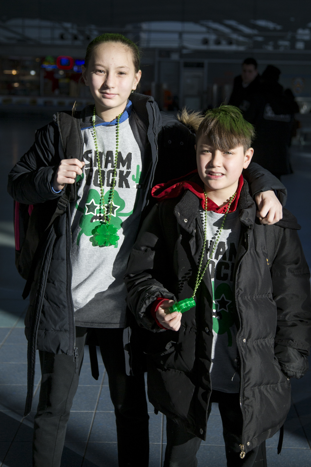 Caelyn Petri, 12, and Jacob Petri, 8, wait for the Staten Island Ferry to Manhattan on St. Patrick's Day. (Staten Island Advance/Shira Stoll)