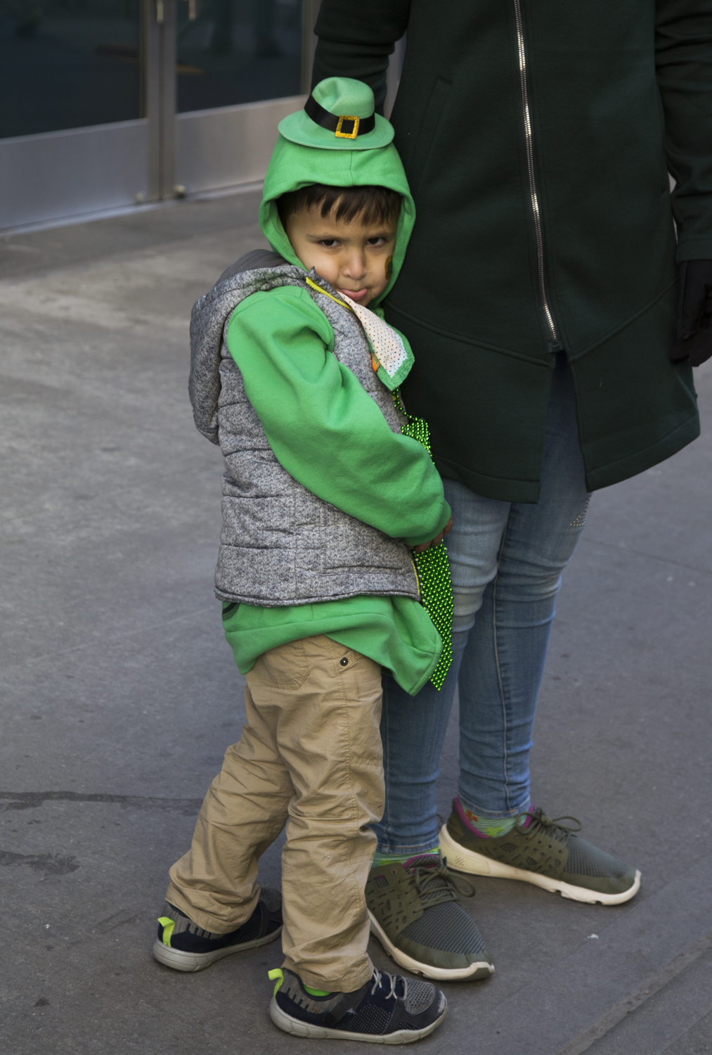 Amir Ramjohn, 4, from Stormville pouts at the 2018 St. Patrick's Day Parade in Manhattan. (Staten Island Advance/Shira Stoll)