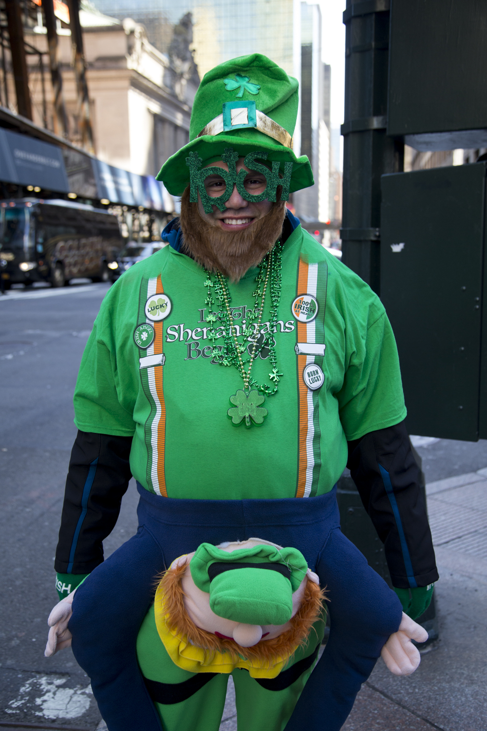 Raymond Defiore from Tarrytown dressed in Irish apparel during the 2018 St. Patrick's Day Parade in Manhattan. (Staten Island Advance/Shira Stoll)