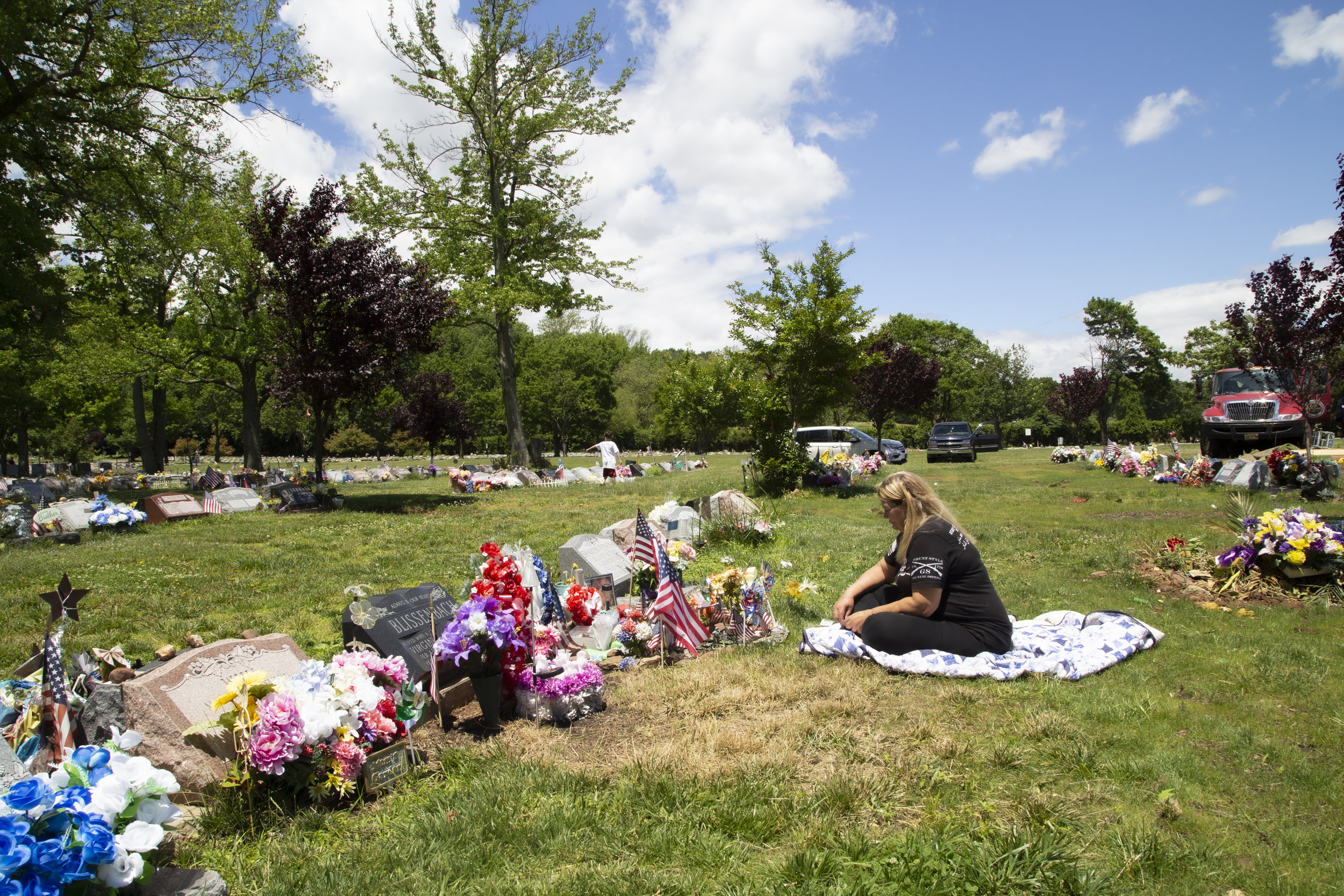 Sandra King visits her son John King's grave at Moravian Cemetery two years after he took his own life. John King was an Army Veteran who struggled with PTSD and opioid addiction.