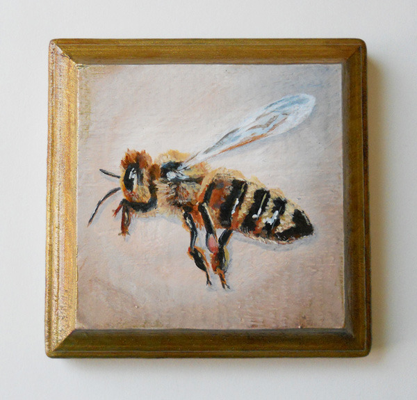honey bee no. 2 , acrylic on wood 4""