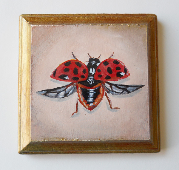 ladybird , acrylic on wood 4""