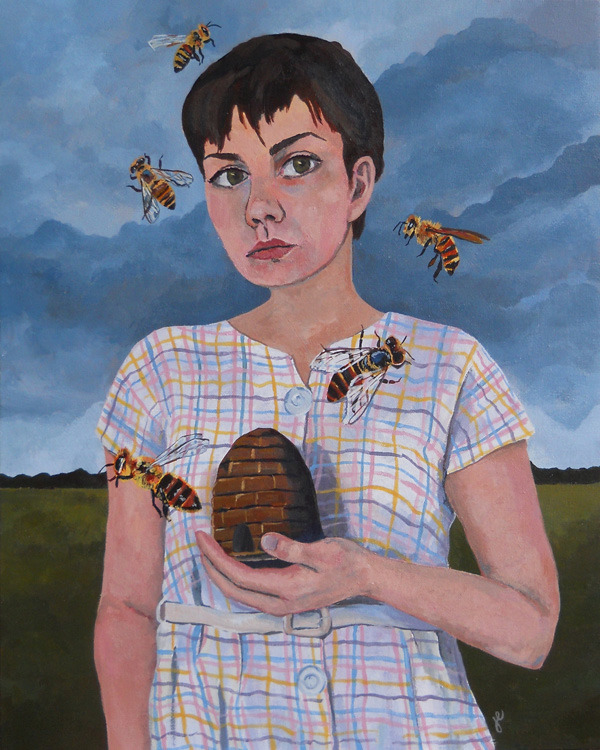 "self portrait with bees , acrylic on canvas 16"" x 20"""
