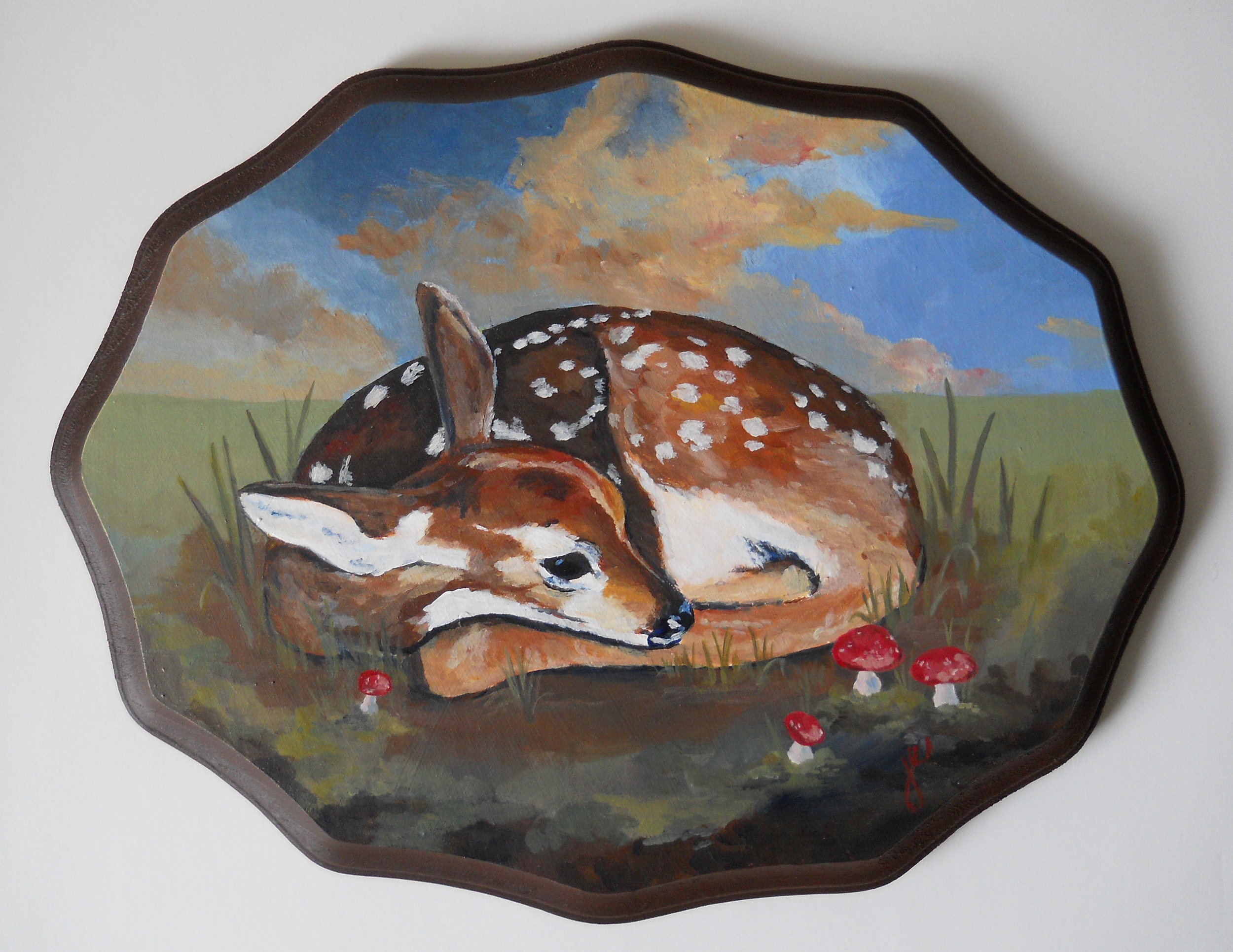 "baby deer with toadstools   acrylic on wood, 11"" x 8 3/4"""