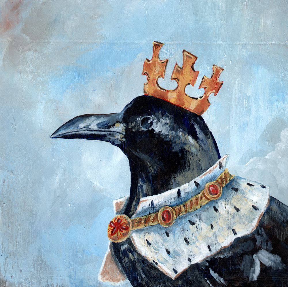 "king crow   acrylic on wood 8"" x 8"""
