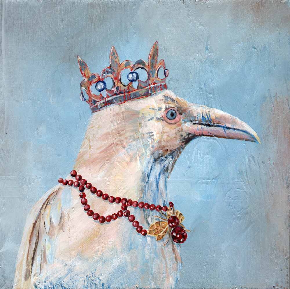 "white raven queen   acrylic on wood 8"" x 8"""