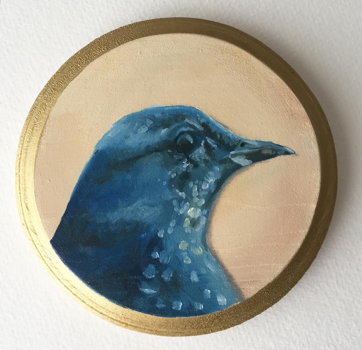 """bluebird   oil on wood 5"""""""