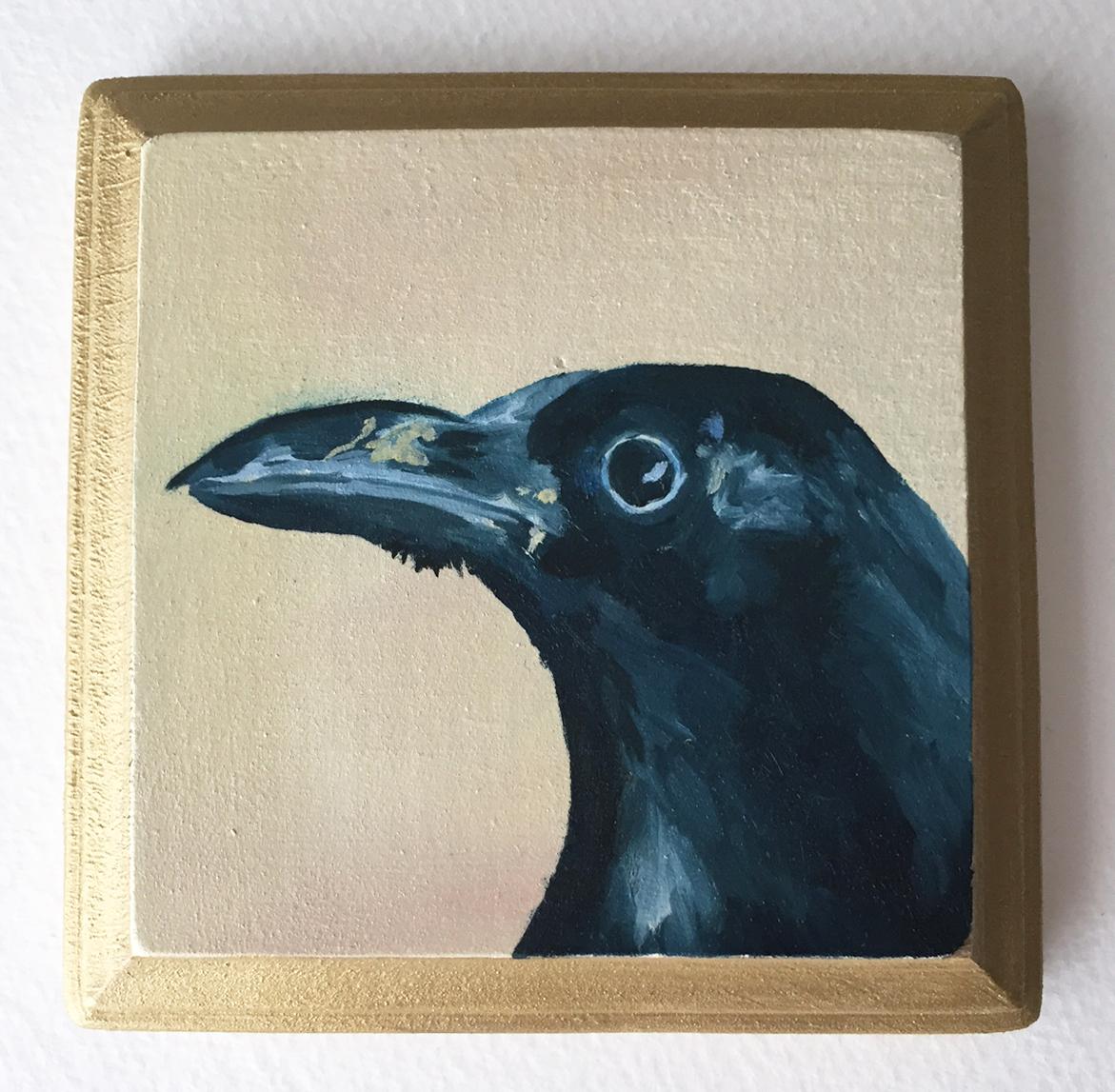 """crow   oil on wood 4"""""""
