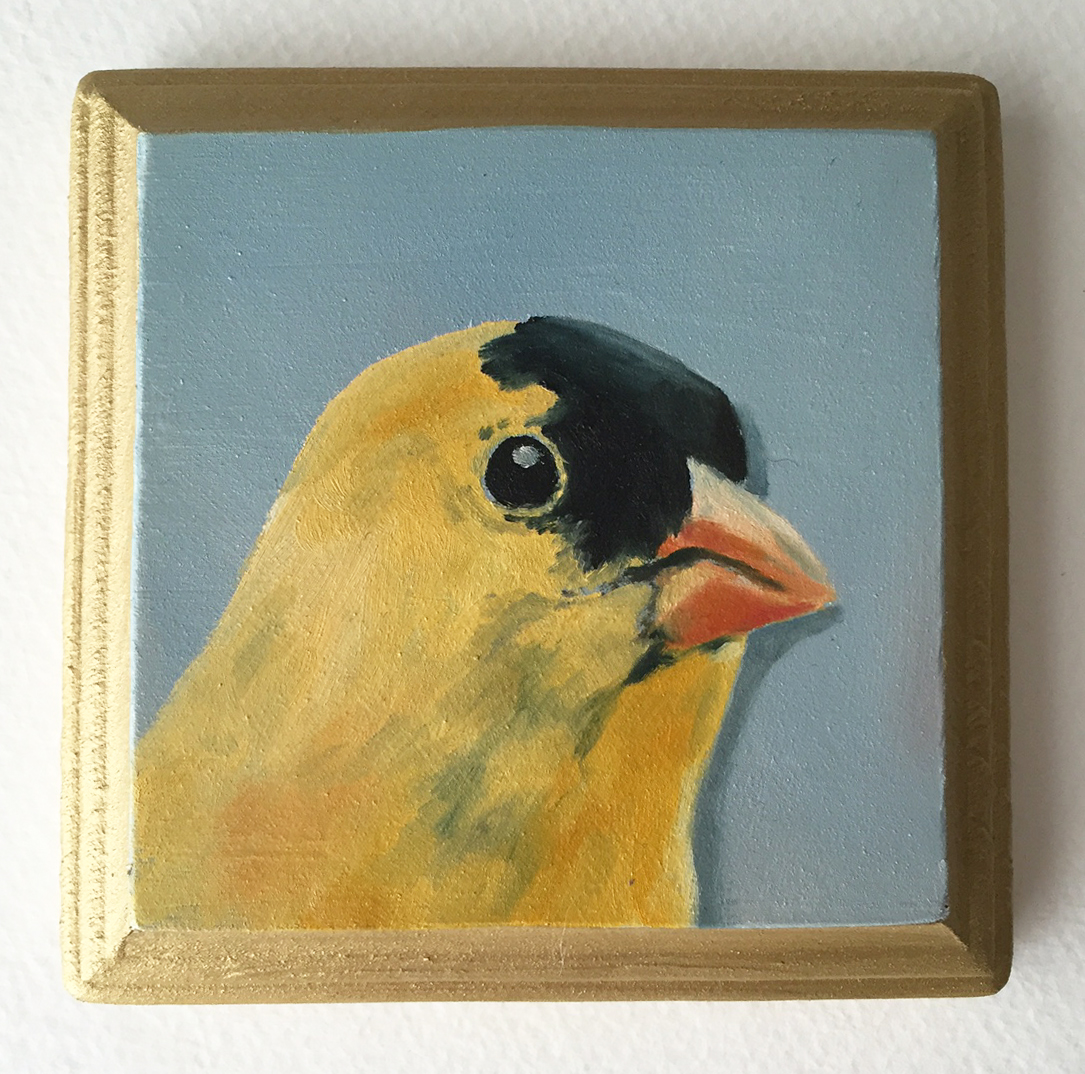 """goldfinch no. 1   oil on wood 4"""""""