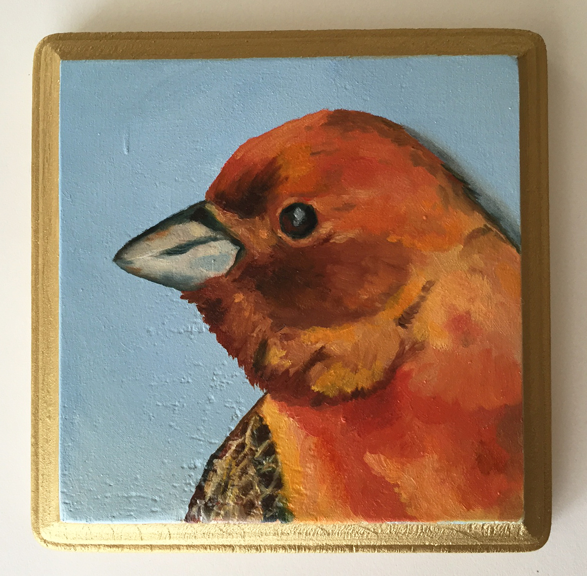 """red headed bunting   oil on wood 5"""""""