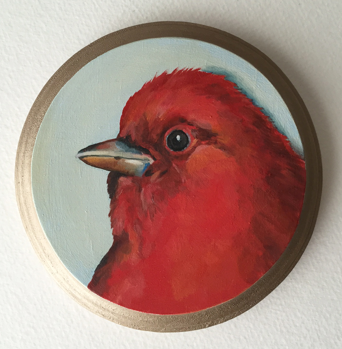 """scarlet tanager   oil on wood 5"""""""
