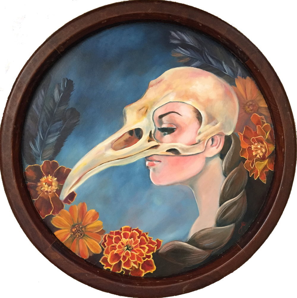 "crow girl   oil on wood 16.5"""