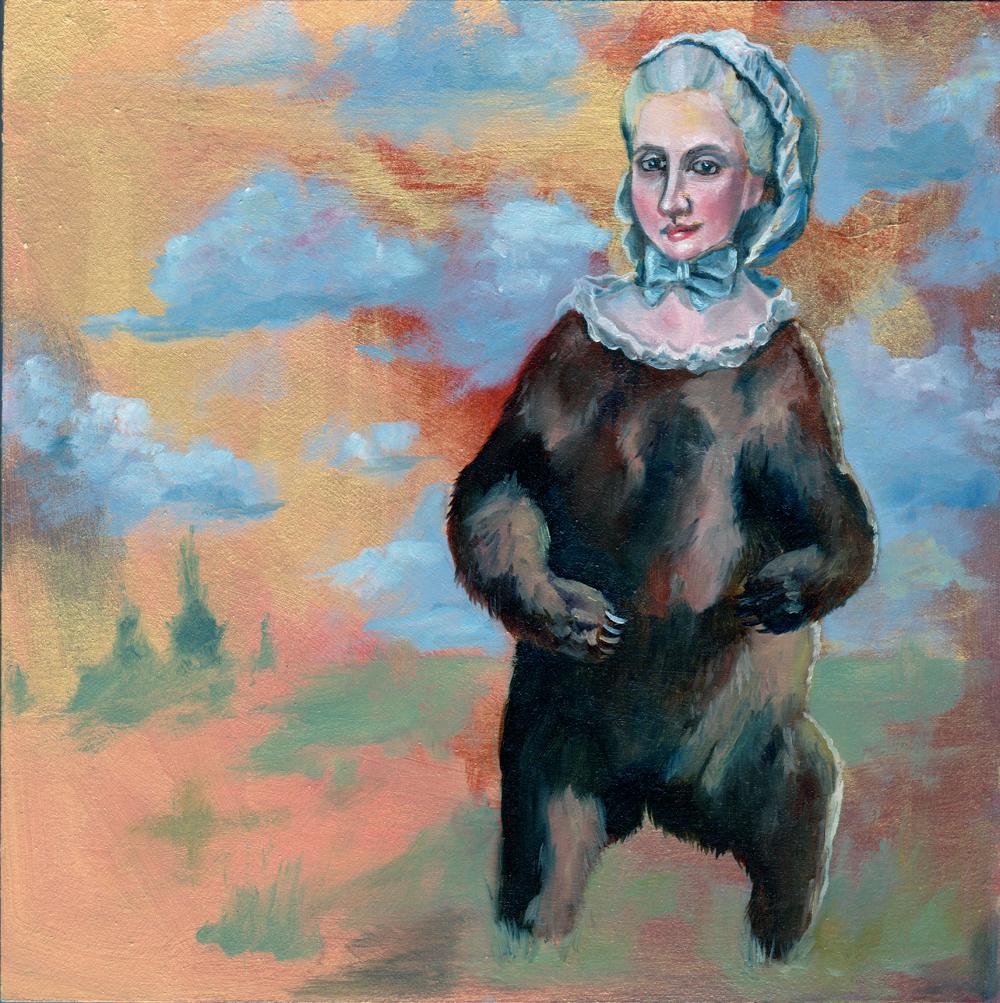 "beargirl no. 1   oil and acrylic on wood 8"""