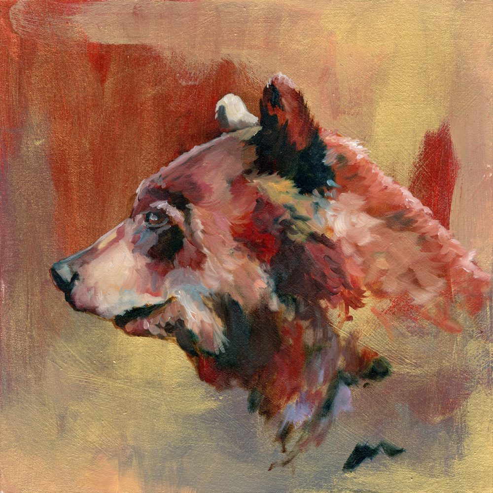 """handsome bear   oil and acrylic on wood 8"""""""