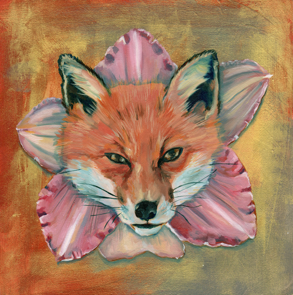 """lilyfox no. 1   oil and acrylic on wood 8"""""""
