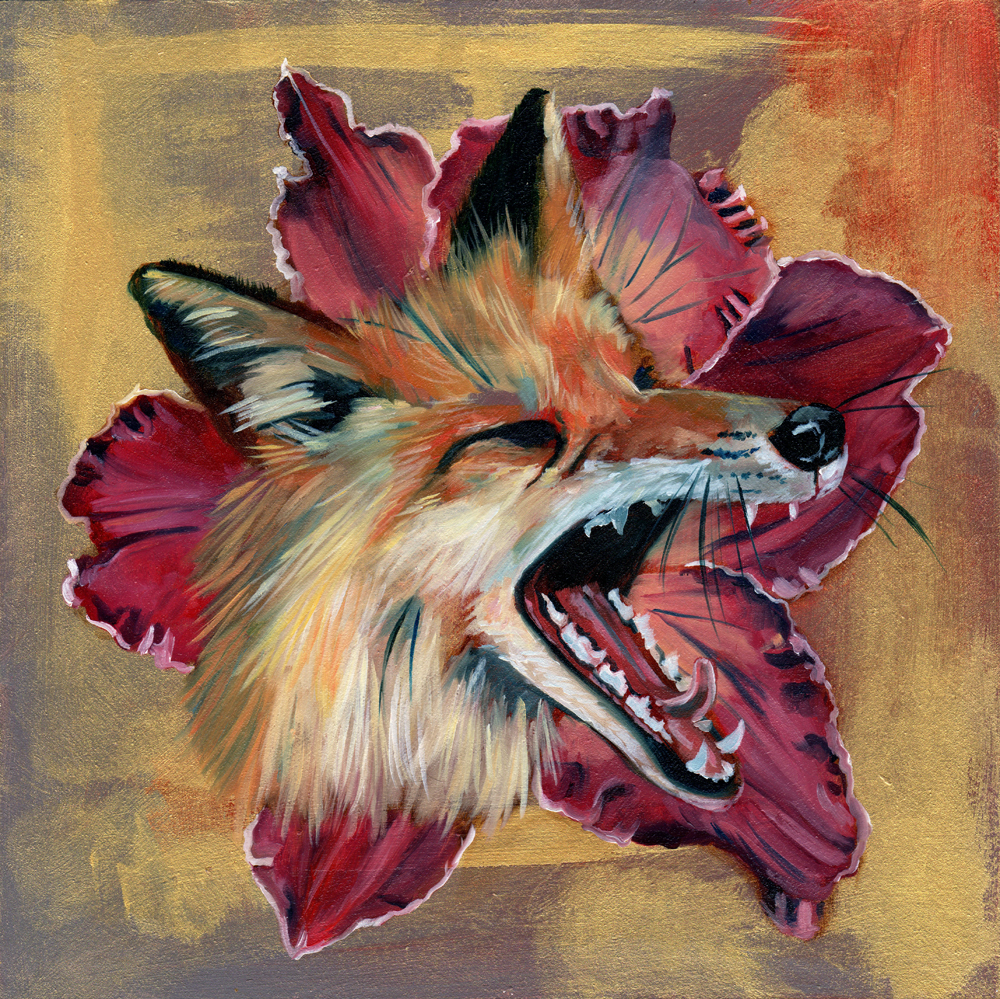 """lilyfox no. 2   oil and acrylic on wood 8"""""""