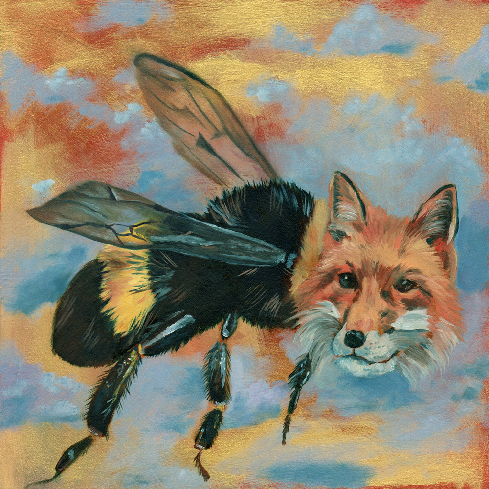 """bumblefox   oil and acrylic on wood 8"""""""