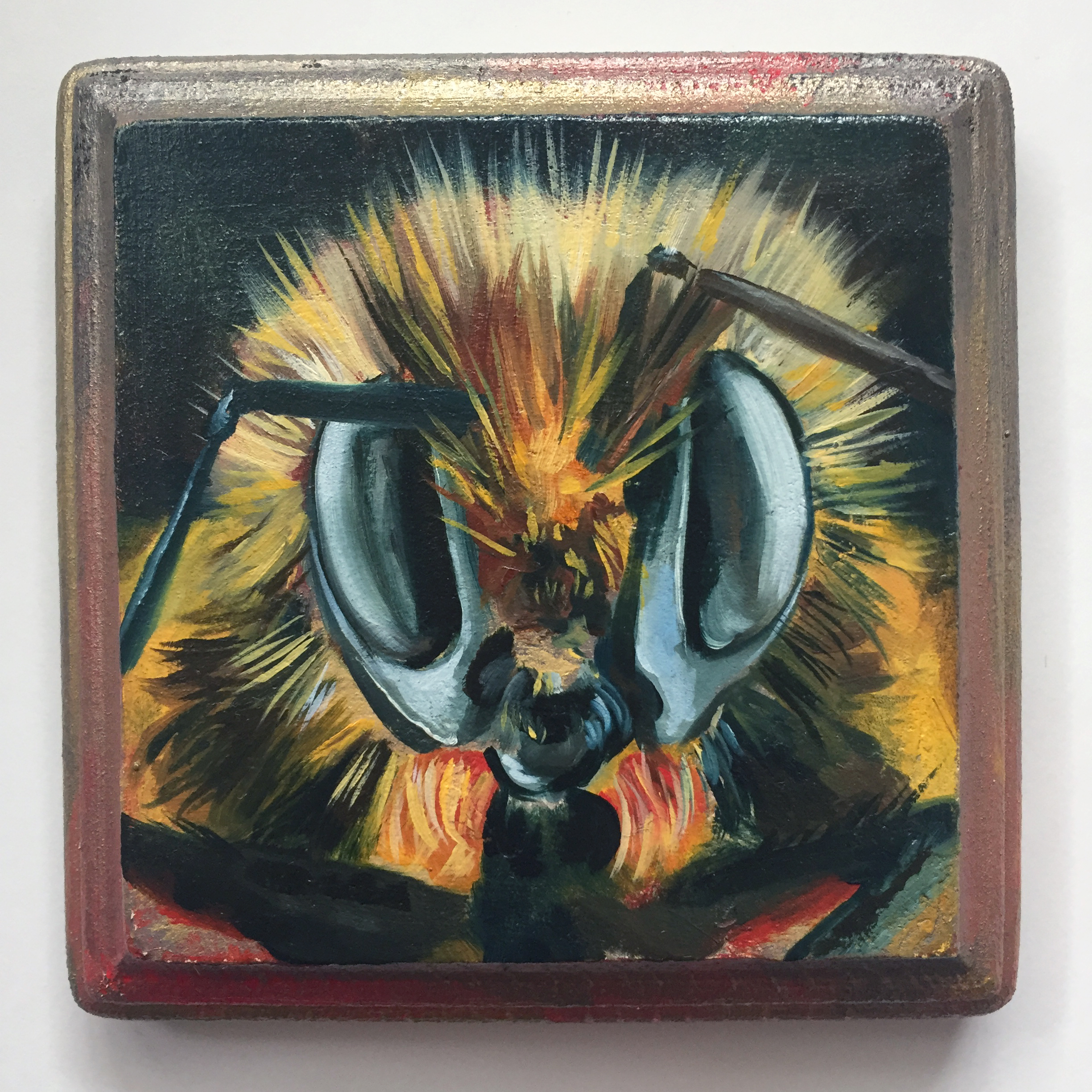 """bumble   oil on wood 4"""""""