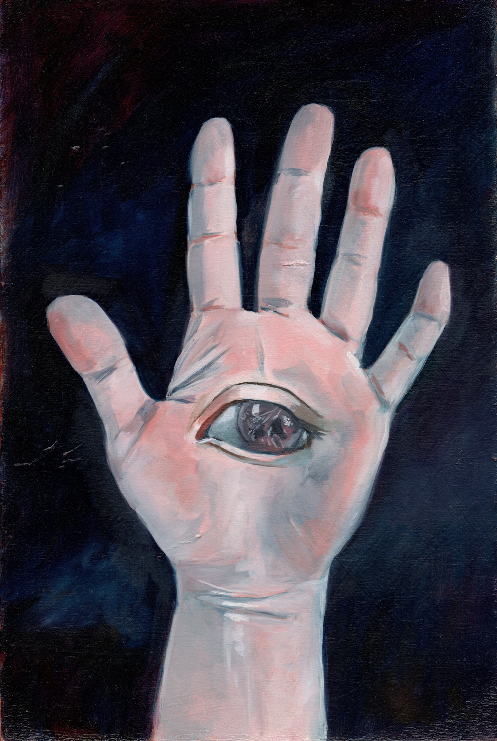 """all seeing eye   oil on found wood 8"""" x 12"""""""