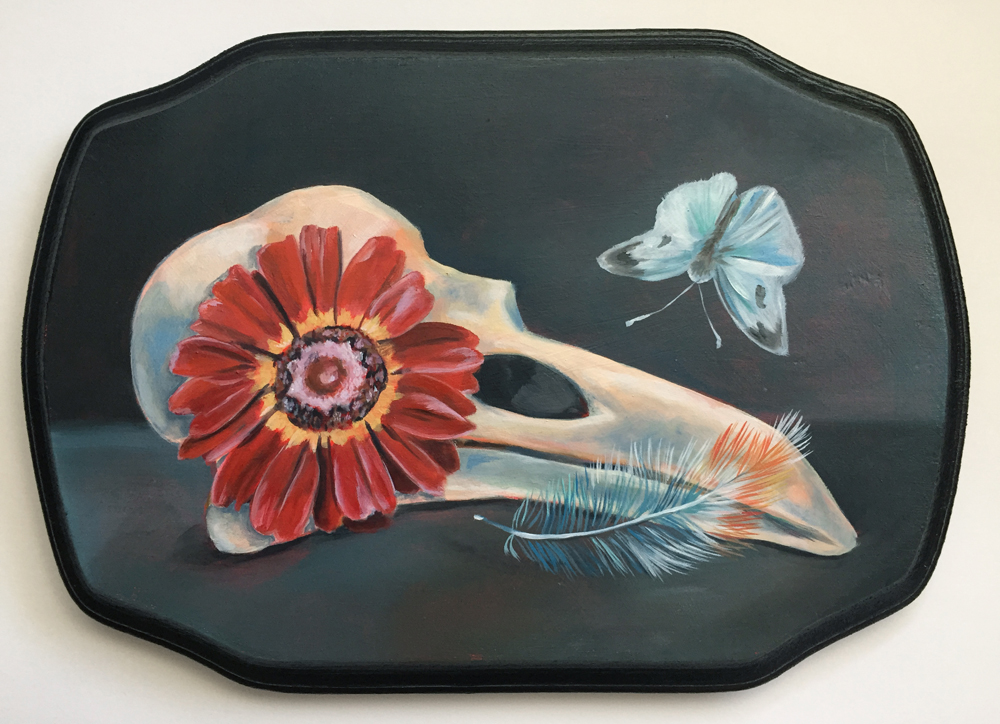 """remembrance no. 3   9.25"""" x 6.5"""" oil on wood"""
