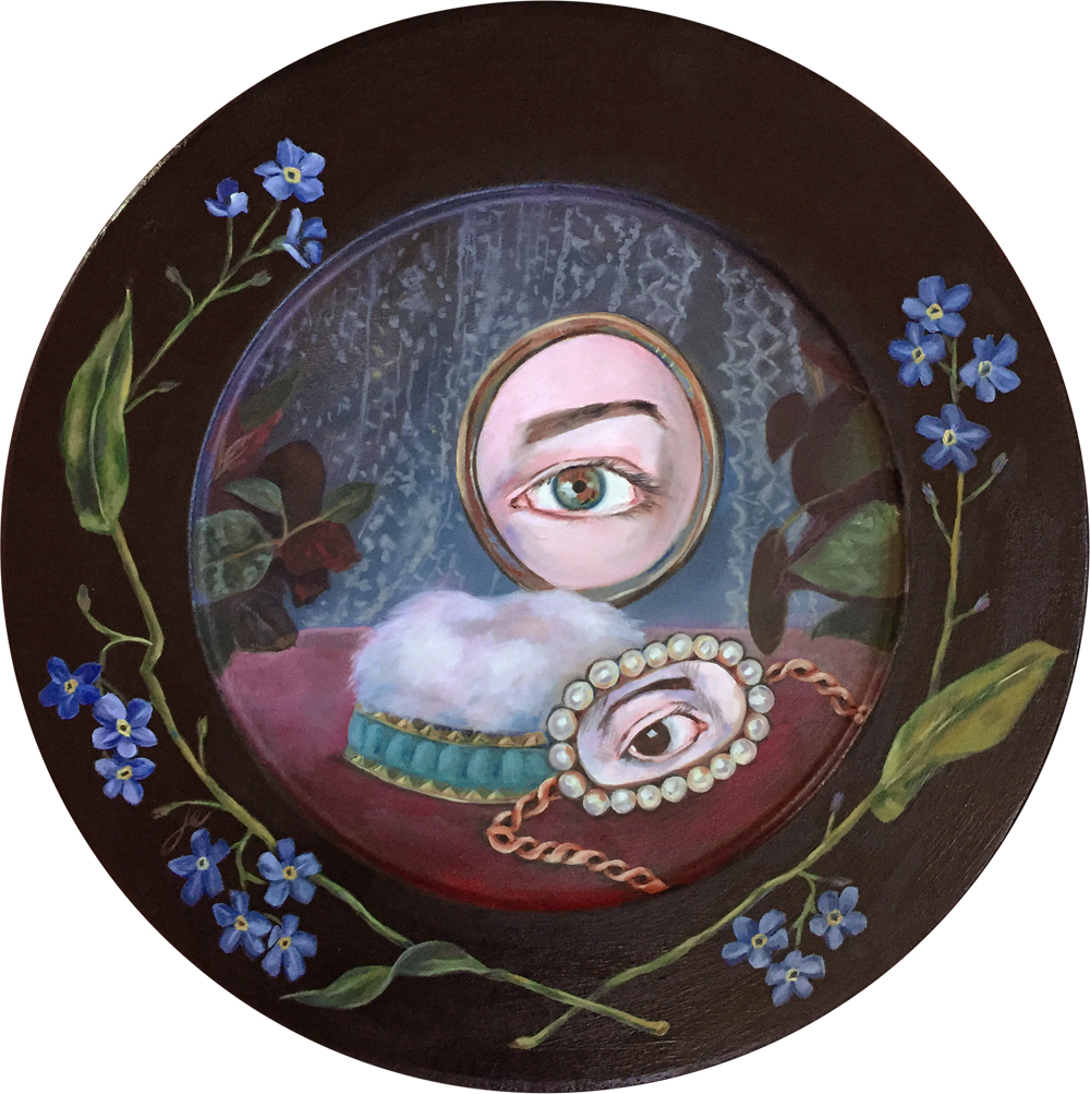 """forget me not   11.5"""" oil on wood"""