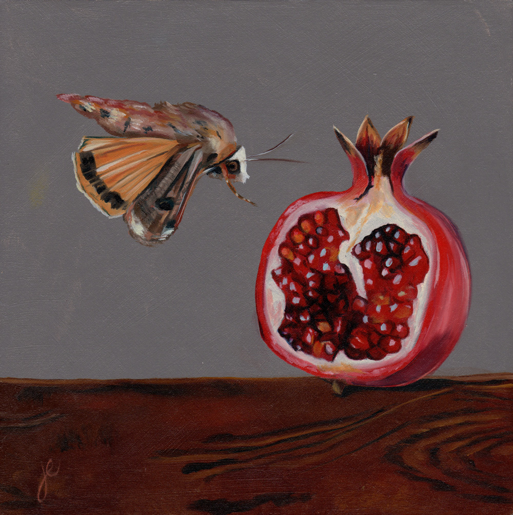 """moths in the kitchen 1   oil on wood 8"""" x 8"""""""