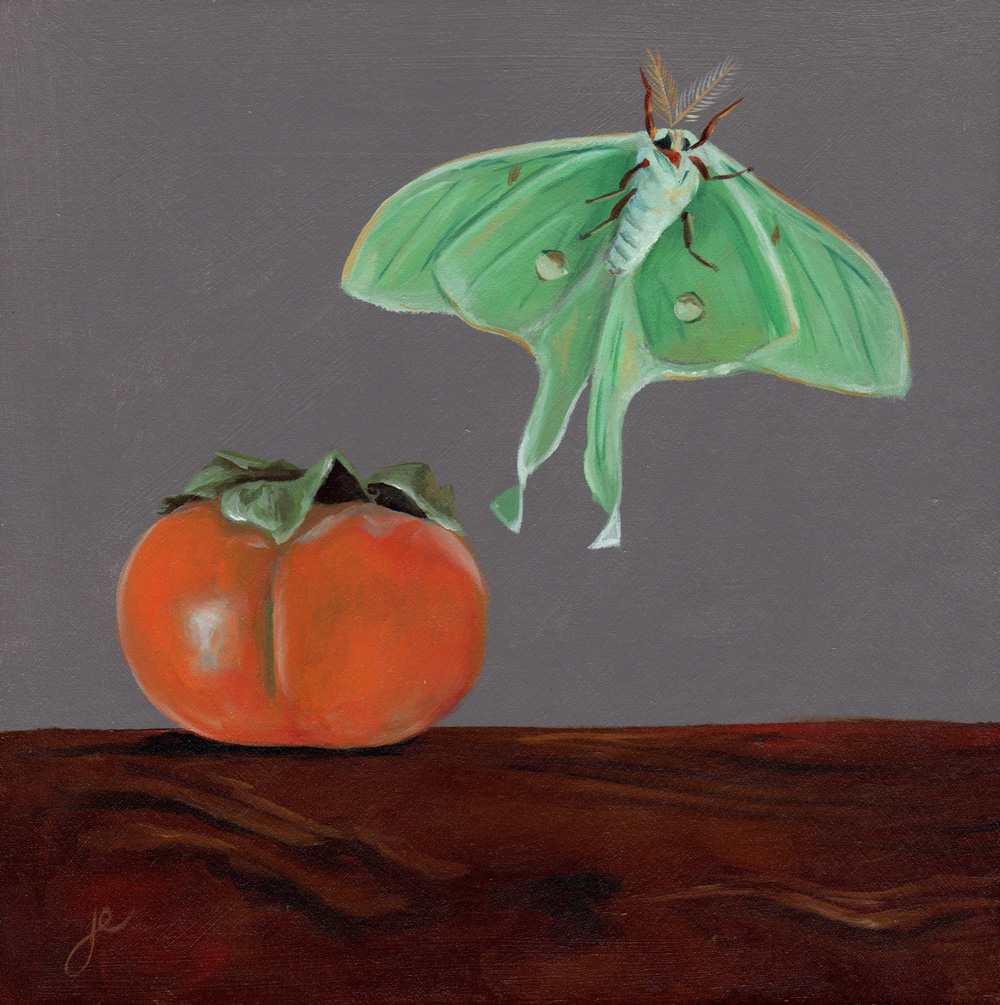 """moths in the kitchen 2   oil on wood 8"""" x 8"""""""