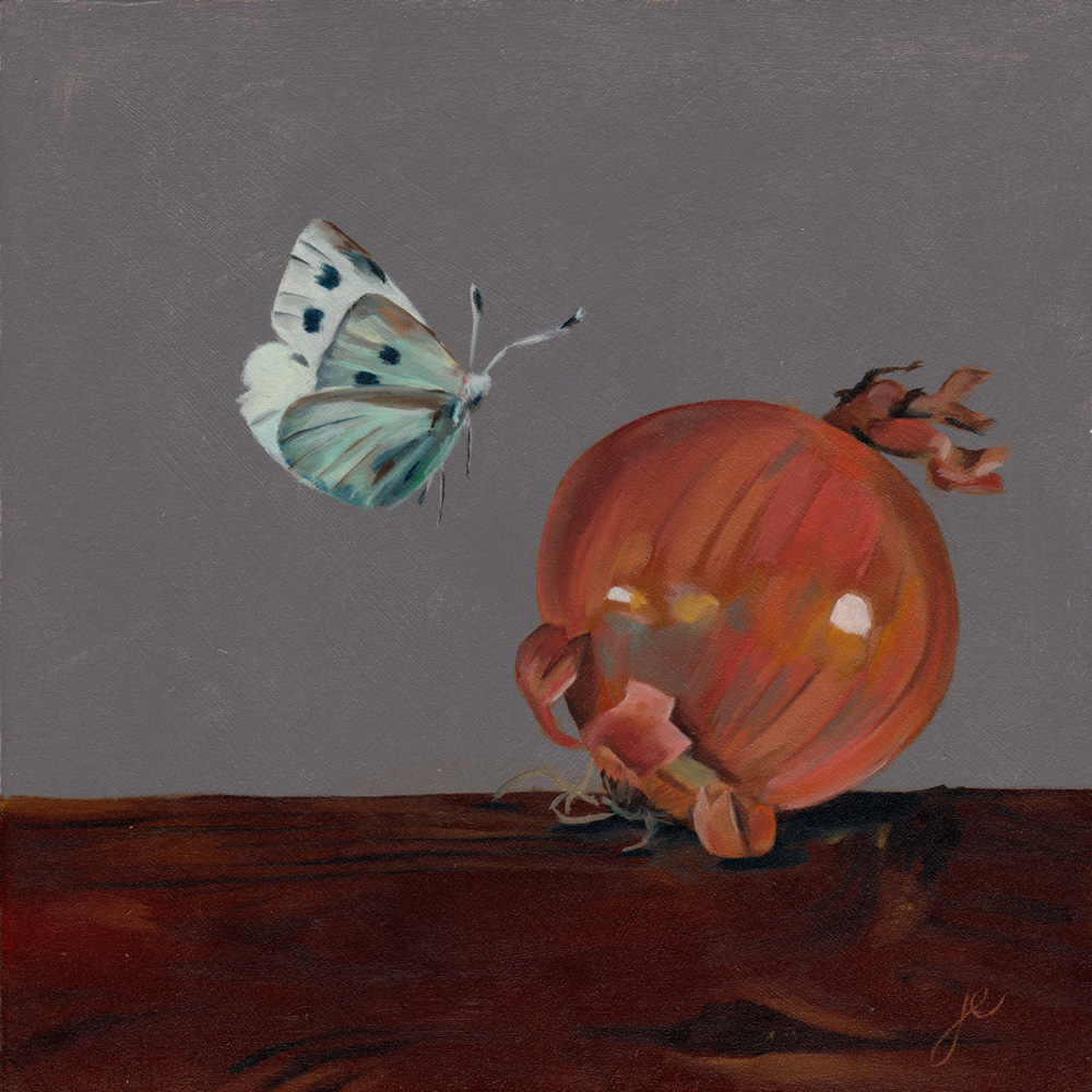 """moths in the kitchen 3   oil on wood 8"""" x 8"""""""