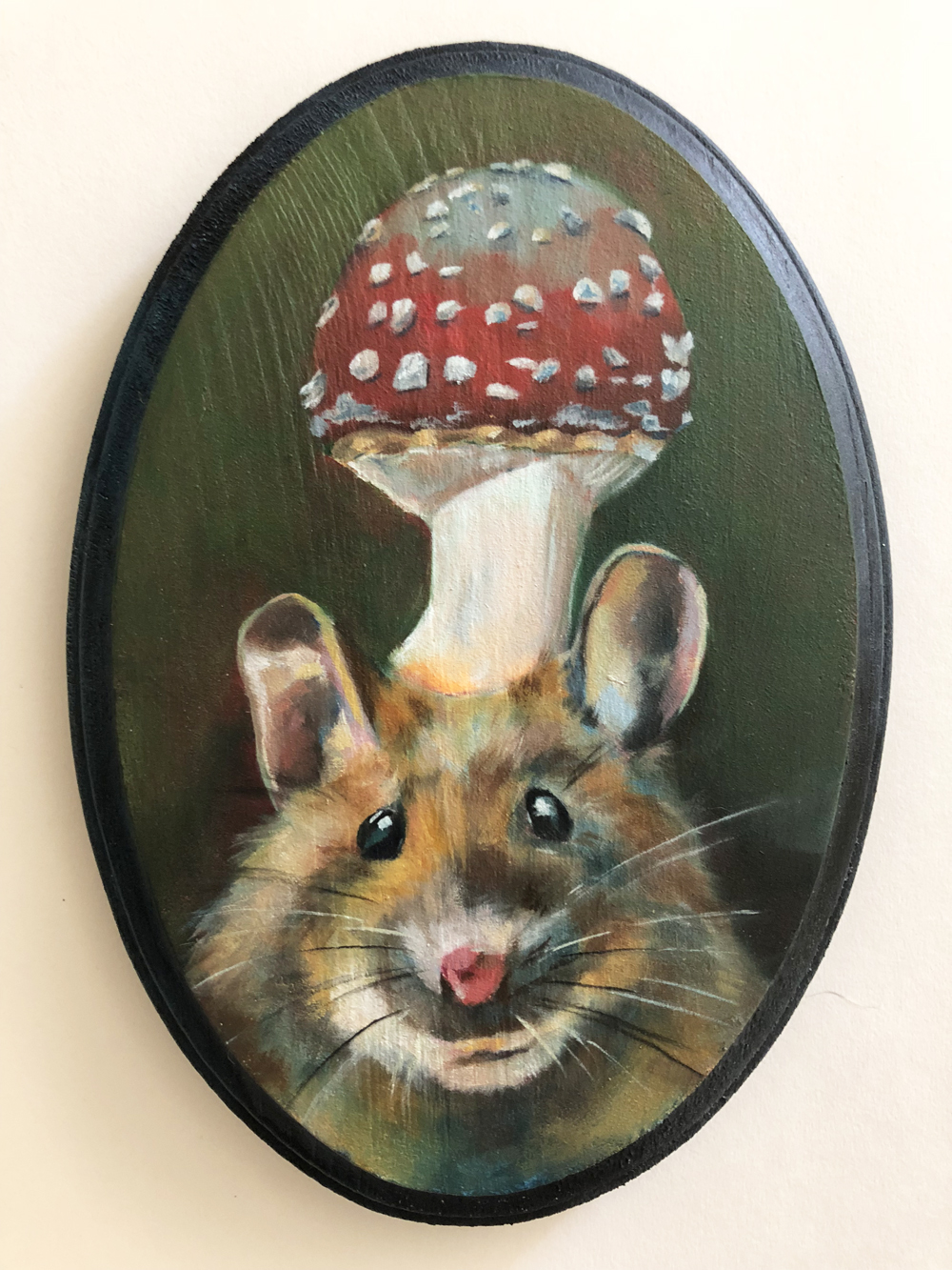 "wise mouse   oil on wood 5"" x 7"""