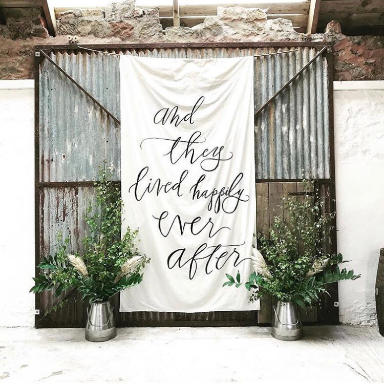 Fabric calligraphy backdrop